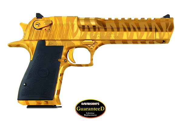 Magnum Research Model Desert Eagle Pistol Semi-Auto 50AE Titanium Gold  Nitride With Tiger Stripe